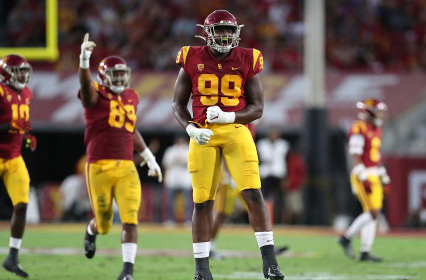 USC football defensive end Drake Jackson. (Meg Oliphant/Getty Images)