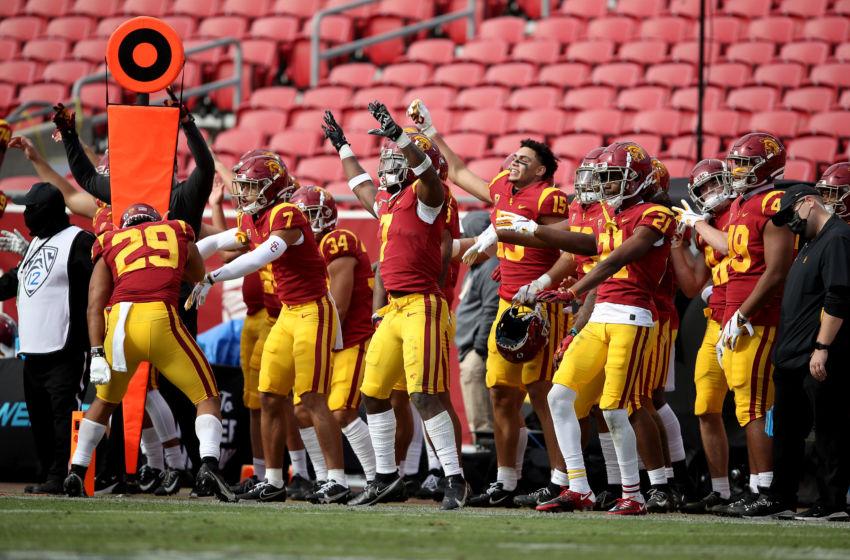 USC football players celebrate. (Sean M. Haffey/Getty Images)